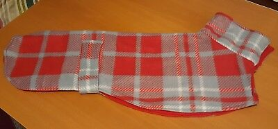 greyhound/ whippet dog  kennel fleece coat 24 inch/61cm red check/red lining