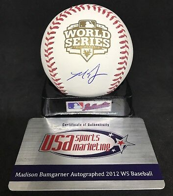 MADISON BUMGARNER Signed Official 2012 WORLD SERIES Baseball w/ JSA COA + USA