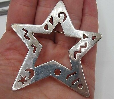 Vintage Taxco Mexico Sterling Silver Ts 99 Modernist Star Pin Brooch 2 1/2 Inch