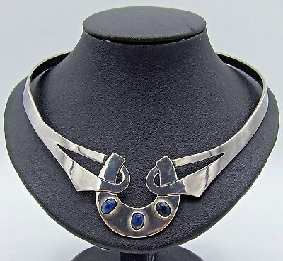 Vintage Taxco Mexico Sterling Silver Blue Lapis Cuff Necklace .925 Tp-20 Chs