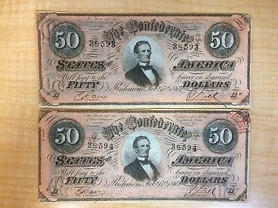 1864 $50  Confederate Notes 2 Consecutive Numbers Un Circulated  No Reserve