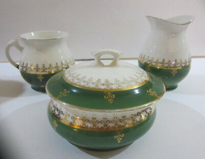 Antique Edwin M Knowles China Semi Vitreous Green Ironstone Chamber Set As Is