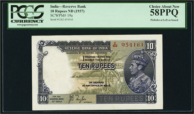 India Reserve Bank of India 10 Rupees 1937 SCWPM Pick 19a PCGS 58PPQ