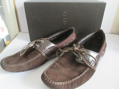 Brown Suede Gucci Loafers Laced Shoes UK 10  Boxed