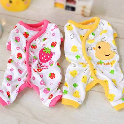 Adorable Dog Pajamas Small Pet Cat Clothes Jumpsuit Embroidery Pup Leisure Wear