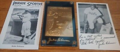 3 Jackie Robinson Items Gold Card and Postcards