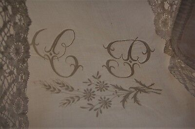 "PAIR Giant Antique French Pillowcases Handmade Lace Border CP Monogram 31"" Sq Wt"