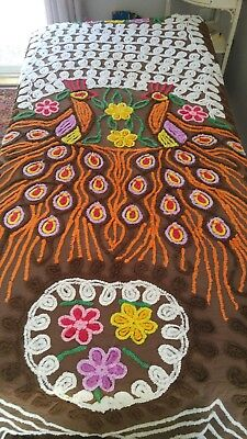 "Vintage Chenille Peacock Bedspread Full *Twin * Queen?? 88""x 98"" Colorful Soft"