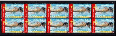 Michael Phelps 2008 Olympics Strip Of 10 Mint Stamps 1