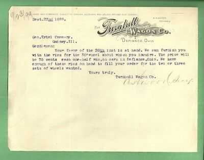 1899 Letterhead THE TURNBULL WAGON CO DEFIANCE OHIO