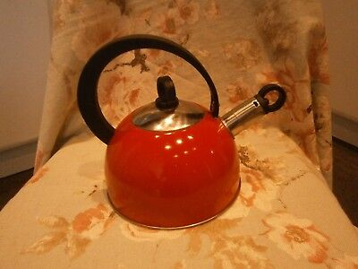 Small red camping kettle