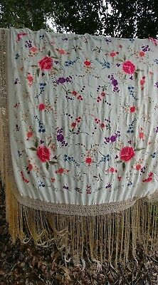 amazing vintage silk fringed floral embroidered piano shawl scarf