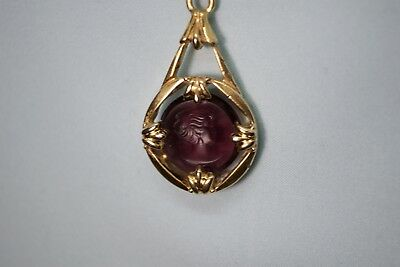Old Antique Vintage Intaglio Lady in Purple Stone Pocket Watch Gold Chain FOB