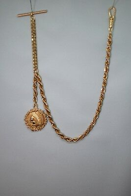 Old Antique Vintage Indian Head Pocket Watch Gold Chain FOB w/T-Bar & Claw/Clasp