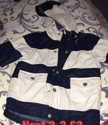 Next Boys Coat Blue And White Stripe Age 2-3 Years