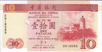 MACAO BANKNOTE P101a-8089, 10 PATACAS 2001 BANK OF CHINA, UNC