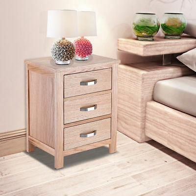 Alondy Solid Wood Oak Bedside Table with 3 Drawers Bedroom Furniture 2 Styles