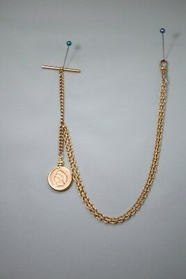 Old Antique Vintage 1903 Indian Head Penny Pocket Watch Gold Chain FOB