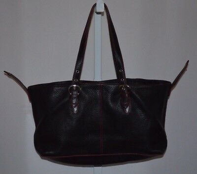 Wilsons Leather Shoulder Bag Pebbled Leather Black Red Stitching Very Nice