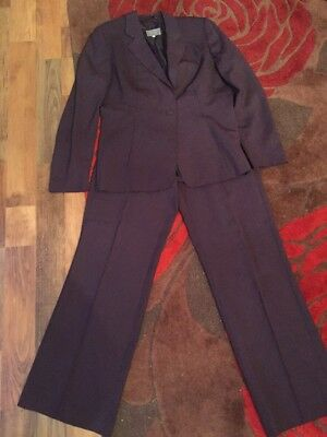 Gorgeous Per Una Purple Ladies Business Trouser Suit Size 16L(115)