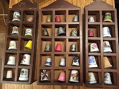 Vintage Thimble Collection Lot of 35 * 3-Wood Dispaly Cases Included