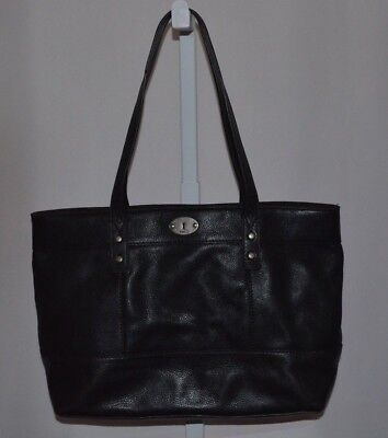 Fossil Black Leather Shoulder Bag/tote Excellent