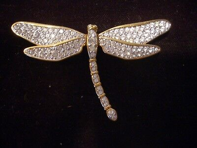 Swarovski Swan Signed Crystals Retired Dragonfly Gold Tone Pin Brooch Excellent