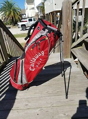 Callaway 3.8 Ultra Lite Stand Carry Cart Golf Bag Izzo Strap Red Black OGIO VGC!