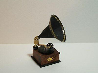 Dolls House Miniature Hand Made Gramaphone in 1:12 Scale