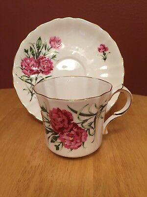 "English Tea Cup and Saucer, Royal Avon - The Carnation from ""The Winters Tale"""