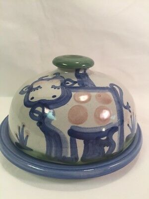 M A Hadley Country Blue Cow Domed Butter Dish