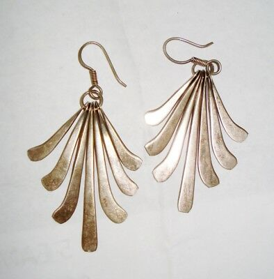 Vintage Taxco Mexico Tl Sterling Silver Earrings Beautiful Design Nr