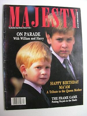 MAJESTY MAGAZINE Aug 1989 Vol 10 No 4 Queen Mother at 89, King Baudouin Belgium