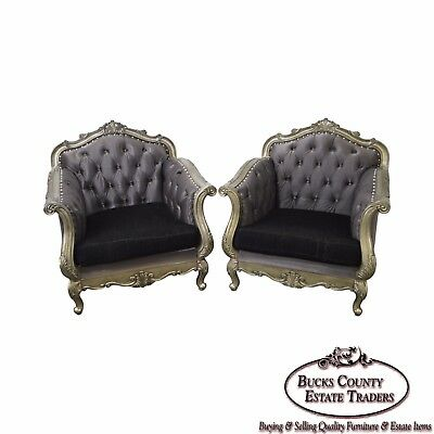 Rococo Style Pair of Silver Gilt Frame Tufted Bergere Lounge Chairs
