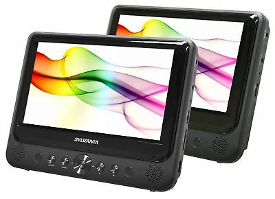 "Car DVD Player Dual Screen Portable USB 7"" LCD Monitors Black Built-in speakers"