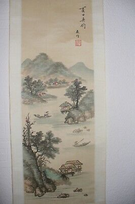 chinese oriental scroll painting landscape scenery x2