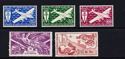French West Africa 1940's Airmail Issues - Five MNH Values - (485)