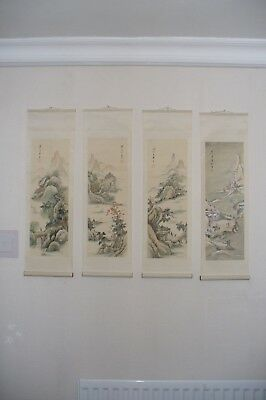 chinese oriental scroll painting of the seasons
