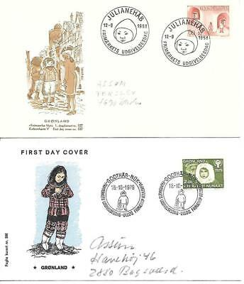 GREENLAND - 1968 Child Welfare & 1978 Year of Child - 2 x Illustrated FDCs