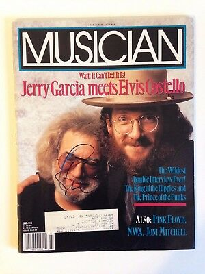 Elvis Costello with Jerry Garcia Signed Musician Magazine Autograph