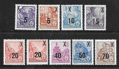 GERMANY (E) - 1954/55.  Five Year Plan - Surcharges - Set of 9, MH.  Cat £37