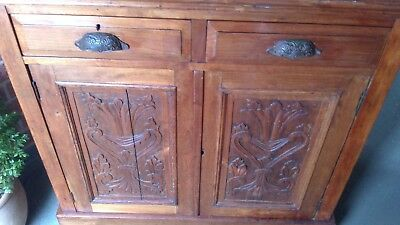 An Old Antique Carved Walnut Dresser Base /Cupboard. / Sideboard.