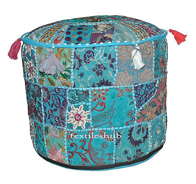 18*18*14 Indian Handmade Pouf Cover Patchwork Vintage Ottoman