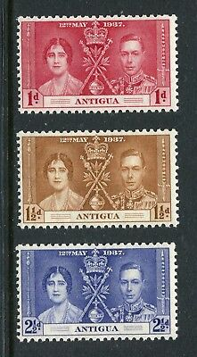 Antigua: 1937 George VI Coronation Set of 3 Stamps SG95-97 MNH AX054