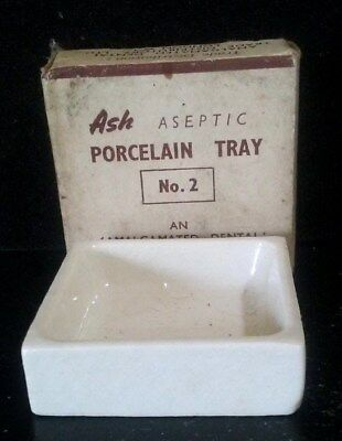 Antique Dental Porcelain Tray Mini Size For Reagents Lab Or Chairside W/box Drug