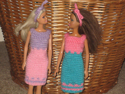 Barbie doll hand knitted clothes - ***** 2-OUTFIT BUNDLE *****
