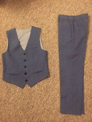 Boys M&S Blue Trousers & Waistcoat Set. Wedding, Party, Special Occasions