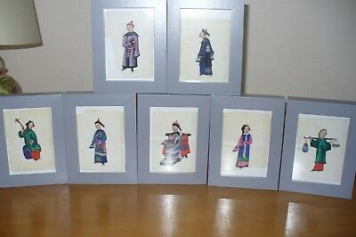 7 Victorian Chinese/Oriental paintings on rice/pith paper
