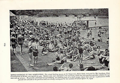 MIXED BATHING IN THE SERPENTINE HYDE PARK LONDON JUNE 1930  small book plate
