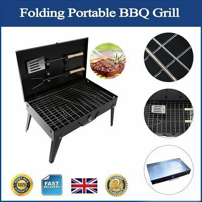 """BBQ Grill Folding Portable Charcoal Garden Travel Outdoor Camping 16""""x9"""" w/ Fork"""